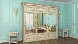 Шкаф купе с фрезеровкой и зеркальным панно Краснодар