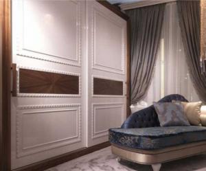 Шкаф купе с эмитацией филенки и фигурной накладкой, ламинация, шпон, эмаль Краснодар