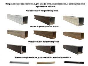 Направляющие однопосные для шкафа купе ламинированные, шпонированные, крашенные эмалью Краснодар